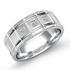 Grooved Matte Finish Diamond Men's Half Wedding Band in 14k White Gold 0.20 Ct
