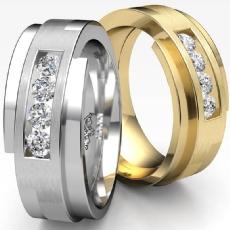 Channel Set Brushed Men's Diamond Half Wedding Band 18k Gold Yellow  (0.3Ct. tw.)