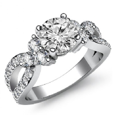 Unique 3 Stone Sidestone Round diamond engagement Ring in 14k Gold White