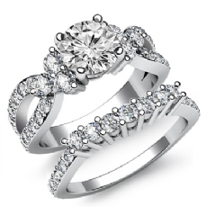 Prong Set 3 Stone Bridal Set Round diamond engagement Ring in 14k Gold White