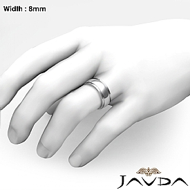 Mens Plain Wedding Solid Band Dome Step Ring 8mm 14k White Gold 5.8g 4sz