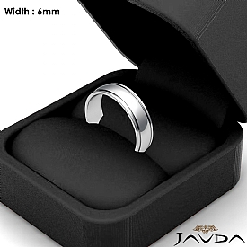 6mm Mens Wedding Solid Band Dome Step Plain Ring 14k White Gold 4.3g 4sz
