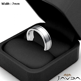 Flat Fit Plain Ring Mens Wedding Solid Band 7mm 14k White Gold 7.8g 4sz