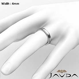 4mm Flat Fit Solid Ring Mens Wedding Plain Band 14k White Gold 4.5g 4sz