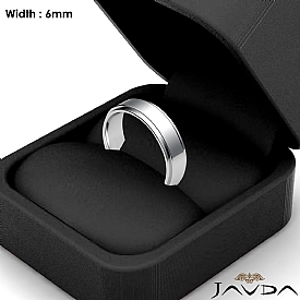 Mens Wedding Plain Band Flat Step Solid Ring 6mm 14k White Gold 6.1g 4sz