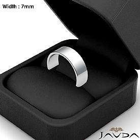 7mm Plain Band Solid 14k White Gold Men Wedding Flat Pipe Cut Ring 5.7g 4sz