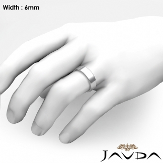 Platinum 950 Plain Flat Pipe Cut Wedding Band Men Solid Ring 6mm 96g 9