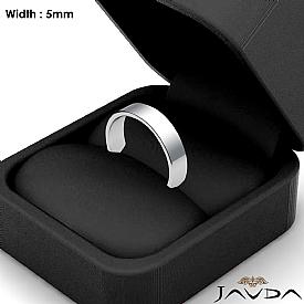 Flat Pipe Cut Ring 5mm Men Simple Plain Wedding Band 14k White Gold 4g 4sz