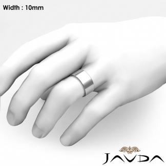 Comfort Flat Pipe Cut Ring Mens Wedding Band 10mm 18k Gold White 14 4g 9