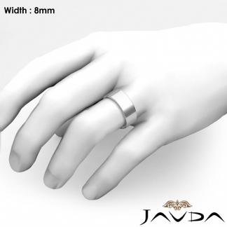 8mm Men Wedding Band Comfort Fit Flat Pipe Cut Ring Platinum 950 16g 9 75