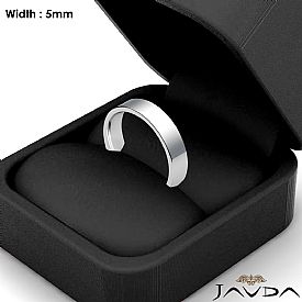 5mm 14k White Gold Comfort Fit Men Wedding Band Flat Pipe Cut Ring 5.1g 4sz