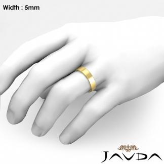 2e822cbb79ba7 Details about Wedding Band Flat Pipe Cut Ring 5mm Women Plain 14k Yellow  Gold 4.6gm Sz 6-6.75
