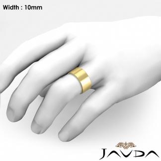 Comfort Flat Pipe Cut Ring Mens Wedding Band 10mm 14k Gold Yellow 12 7g 9