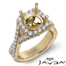 Halo U Cut Prong Diamond Engagement Ring Round Semi Mount 14k Gold Yellow  (1.1Ct. tw.)