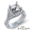 Halo U Cut Prong Diamond Engagement Ring Round Semi Mount 14k White Gold 1.1Ct - javda.com