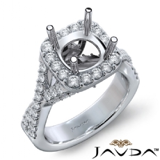Halo U Cut Prong Diamond Engagement Ring Round Semi Mount 14k White Gold 1.10Ct