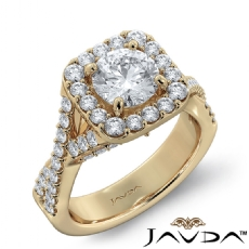 Cross Shank Accent Bridge Halo Round diamond engagement Ring in 14k Gold Yellow