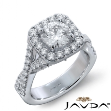 Cross Shank Accent Bridge Halo Round diamond engagement Ring in 14k Gold White