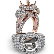 Round Diamond Engagement Ring Antique & Vintage Halo Pave Semi Mount 18k Rose Gold  (3.5Ct. tw.)