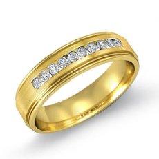 Channel Set Diamond Brushed Finish Men's Wedding Band 18k Gold Yellow  (0.2Ct. tw.)