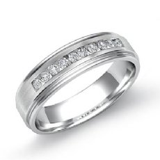 Channel Set Diamond Brushed Finish Men's Wedding Band 14k White Gold 0.20 Ct