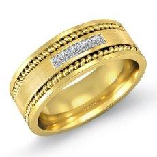 Channel Set Men's Diamond Wedding Band Rope Edge 18k Gold Yellow  (0.25Ct. tw.)