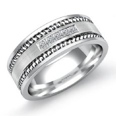 Channel Set Men's Diamond Wedding Band Rope Edge 14k White Gold 0.25 Ct