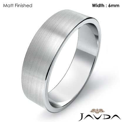 14k White Gold Classic Plain Polished Band Ring 6mm Width