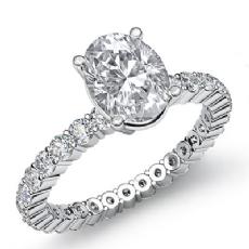 Eternity Sidestone Prong Set Oval diamond engagement Ring in 14k Gold White