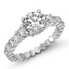 Prong Set Classic Side Stone Round diamond engagement Ring in 14k Gold White