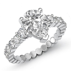 Prong Set Classic Side Stone Pear diamond engagement Ring in 14k Gold White