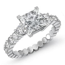Prong Set Classic Side Stone Princess diamond engagement Ring in 14k Gold White