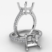 French U Pave Princess Diamond Semi Mount Engagement Ring 14k White Gold 0.31Ct - javda.com