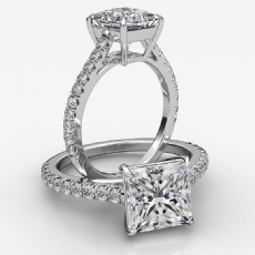 4 Prong Basket French U Pave Princess diamond  Ring in 18k Gold White