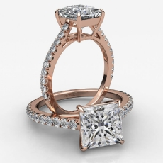4 Prong Basket French U Pave Princess diamond  Ring in 18k Rose Gold