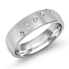 Classic Bezel Set 5 Diamond Men's Eternity Wedding Band 14k White Gold 0.25 Ct