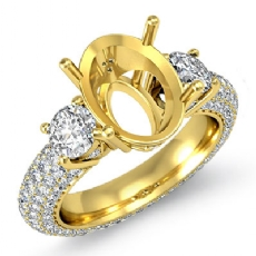 3 Stone Round Diamond Engagement Ring Setting 14k Gold Yellow Oval Semi Mount  (2.8Ct. tw.)