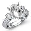 3 Stone Round Diamond Engagement Ring Setting 14k White Gold Oval Semi Mount 2.8Ct - javda.com