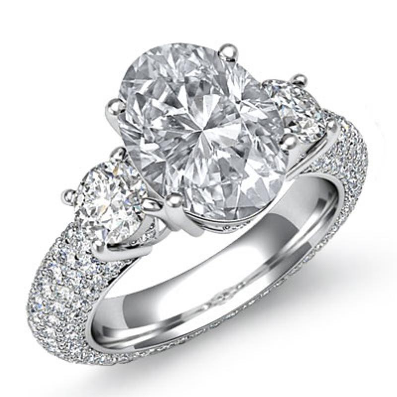 c847a935602ea Petite Pave 3 Stone Eternity Oval Diamond Engagement Ring 14k White Gold  (3.7ctw.)   . Original Image. Orignal image