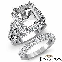 3.60Ct Diamond Engagement Ring Emerald Pave Semi Mount Bridal Set 14k White Gold