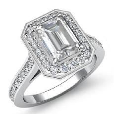 Halo Pave Setting Bezel Emerald diamond engagement Ring in 14k Gold White
