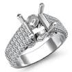 1.7Ct 3 Row Shank Diamond Engagement Ring Princess Semi Mount 14k White Gold - javda.com