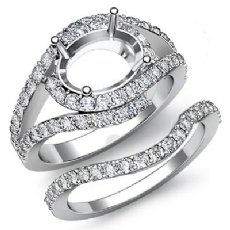 1.2Ct Round Diamond Engagement Oval Ring Bridal Set 14K White Gold Pave Setting