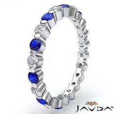 Classic Sapphire Gemstone Women Eternity Wedding Band Ring 14k White Gold 0.5Ct