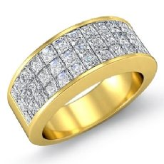 Womens Princess Invisible Diamond Half Wedding Band Ring 18k Gold Yellow  (1.75Ct. tw.)
