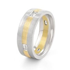 Flat Matte Baguette Diamond Men's Eternity Wedding Band 14k 2 Tone Gold 0.50 Ct