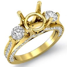 Three 3 Stone Round Diamond Engagement Ring Setting 18k Gold Yellow Semi Mount  (1.3Ct. tw.)