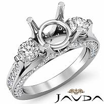 Three 3 Stone Round Diamond Engagement Ring Setting 14k W Gold Semi Mount 1.30Ct