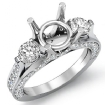 Three 3 Stone Round Diamond Engagement Ring Setting 14k White Gold Semi Mount 1.3Ct - javda.com