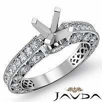 0.9Ct Antique Diamond Engagement Ring Millgrain Setting 14k White Gold Semi Mount